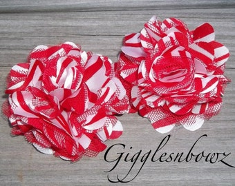 Set of TWO Red ZEBRA Print Petite Satin and Tulle Puff Flowers-NEW 2 inch Size