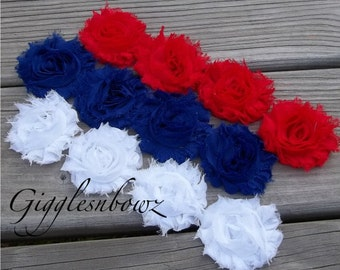 Set of TWELVE Shabby Frayed Vintage look Chiffon Rosette Flowers- Red, White and Royal Blue
