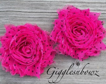 Set of TWO Shabby Frayed Vintage look Chiffon Rosette Flowers- Shocking Pink with Black POLKA DOTS