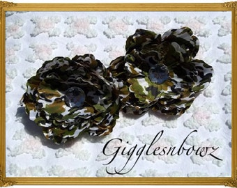 Set of TWO Rhinestone Centered Silk Peony Flowers GREEN CAMO Camouflage Print