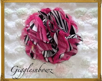 Beautiful single ZEBRA With Hot Pink Satin and Tulle Puff Flower