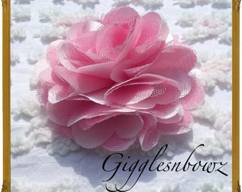 Beautiful single PINK Satin and Tulle Puff Flower