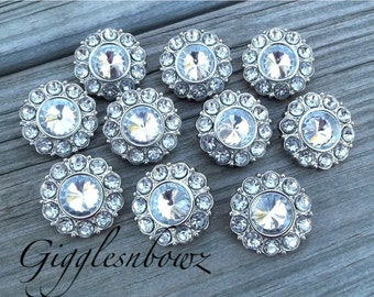 10 Clear Rhinestone Buttons- 25mm Plastic Acrylic Rhinestone Buttons- Headband Supplies- Diy Wedding- Brooch Bouquet- Sewing Button
