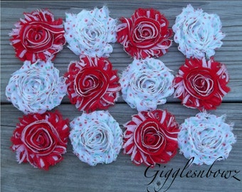 Set of TWELVE Shabby Frayed Vintage look Chiffon Rosette Flowers- Candycane Stripe and Christmas Polka Dot