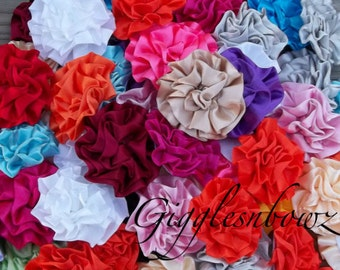 Satin Flowers- Grab Bag 20pc- Beautiful Satin Rosettes Puff Flowers- 3 inch Assorted Colors- DIY Supplies- Fabric Flowers- Satin Rosettes