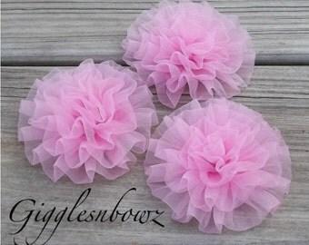 Set of 3 PINK Chiffon Rosettes Puff Flowers