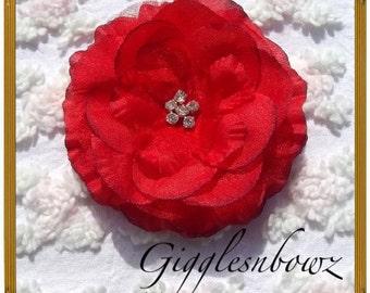Gorgeous Red Ruffled Rhinestone Center Layered Flower
