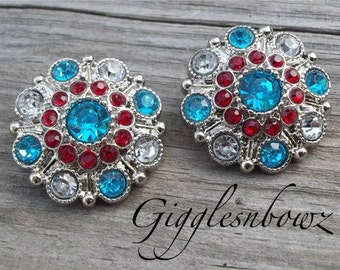 2pc Rhinestone Button Dr Seuss Inspired Turquoise and Red Acrylic Rhinestone Buttons 27mm