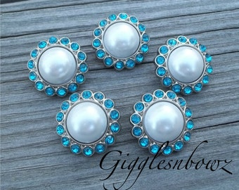 5pc Pearl Rhinestone Buttons 23mm- Pearl with Turquoise Rhinestone- Pearl Buttons- Diy Supplies- Flower Centers- Acrylic Rhinestone Button