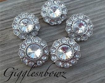 Clear Rhinestone Buttons- 25mm Plastic Acrylic Rhinestone Buttons- 5pc Headband Supplies- Diy Wedding- Brooch Bouquet
