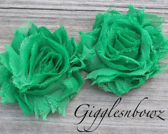 Set of TWO Shabby Frayed Vintage look Chiffon Rosette Flowers- EMERALD GREEN