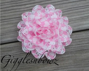 New Item- Chiffon Eyelet Fabric Rosette Puff Flower 4 inch- Pink with White Hearts