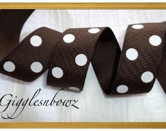 7/8 inch BROWN with WHITE Polka Dot Grosgrain Ribbon 5 yards