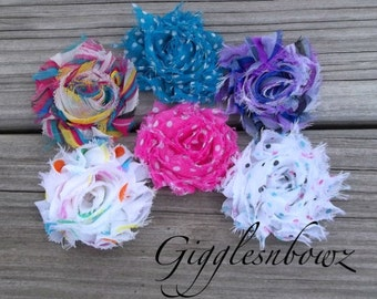 New Petite Size-Set of SIX Shabby Frayed Vintage look Chiffon Rosette Flowers- Prints and Dots