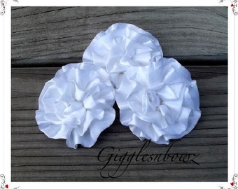 Set of 3 Beautiful WHITE Satin Rosettes Puff Flowers