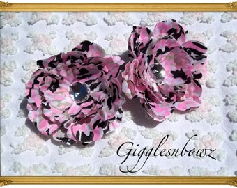 Set of TWO Rhinestone Centered Silk Peony Flowers PINK CAMO Camouflage Print