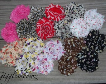 Set of TWENTY Shabby Frayed Vintage look Chiffon Rosette Flowers- CHOOSE From 10 Prints/Dots