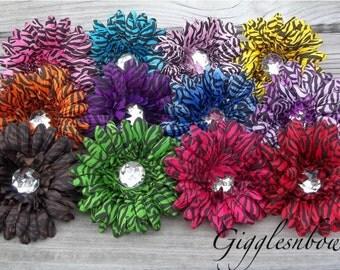 ZEBRA PRiNT-Set of TWELVE Rhinestone Centered Silk Gerbera Daisy Flowers Zebra Print
