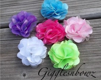 Set of SIX Beautiful PETITE Satin and Tulle Puff Flowers-NEW Tiny Size