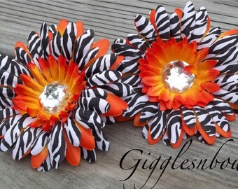 Set of TWO Rhinestone Centered Silk Gerbera Daisy Flowers ORANGE Zebra Layered