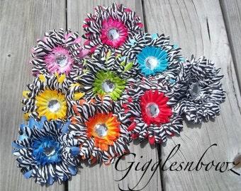 Set of NINE Rhinestone Centered Silk Gerbera Daisy Flowers Animal Print