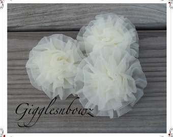 Set of 3 IVORY Chiffon Rosettes Puff Flowers