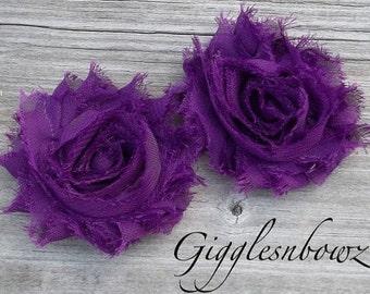 Set of TWO Shabby Frayed Vintage look Chiffon Rosette Flowers- PLUM
