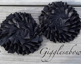 Set of TWO Pleated Satin Ribbon Rosette Flowers- BLACK