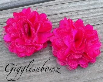 Set of TWO Shocking Pink PETITE Satin and Tulle Puff Flowers-NEW Tiny Size