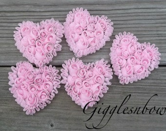 NeW SMaLLeR SiZE- Set of 5 Beautiful Shabby Chic Chiffon HEART Appliques- PiNK  3 inch