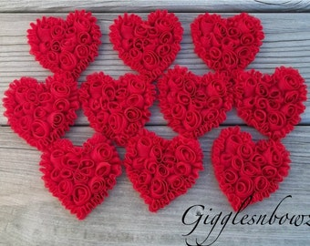 NeW SMaLLeR SiZE- Set of 10 Beautiful Shabby Chic Chiffon HEART Appliques- RED  3 inch