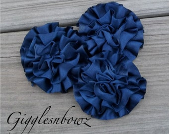 Set of 3 Beautiful NAVY BLUE Satin Rosettes Puff Flowers
