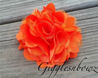 Beautiful single ORANGE Satin and Tulle Puff Flower- 3 inch