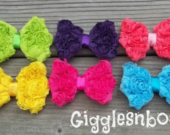BRiGHT CoLLeCTiON- Set of SiX PeTiTE Size Shabby ROSE Mesh BoWS- New Mini Size 3 inch