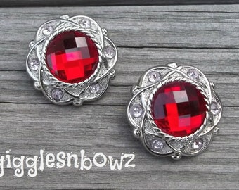 NEW Set of Two LIMITED EDITION Vintage Style Red and Light Pink Rhinestone Buttons 30mm