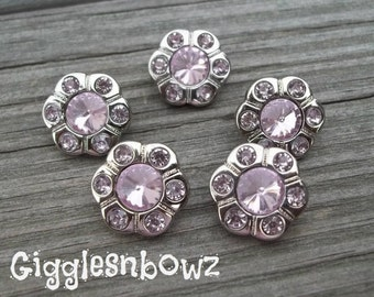 CHRiSTMaS in JuLY SaLE- Brand New Set of FiVE Rhinestone FLOWER Buttons NEW Size-15mm Light Pink