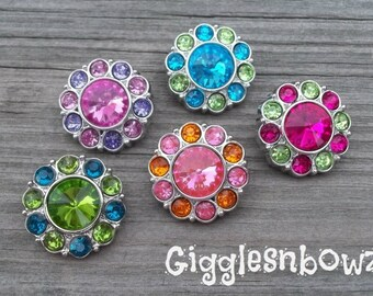 NEW Set of Five BRiGHT CoLLeCTION Two Tone Acrylic Rhinestone Buttons 25mm- Sampler Pack