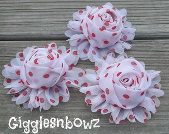 New to Shop- 3 Inch Chiffon Rolled Rose with Ruffles- White with Red Dots Set of Three