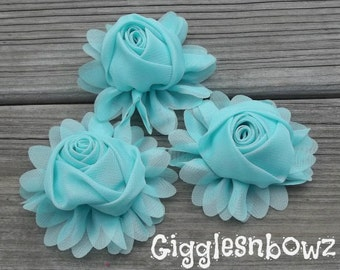 New to Shop- 3 Inch Chiffon Rolled Rose with Ruffles- Aqua,  Set of Three