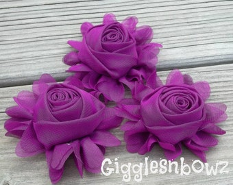 New to Shop- 3 Inch Chiffon Rolled Rose with Ruffles- Purple,  Set of Three