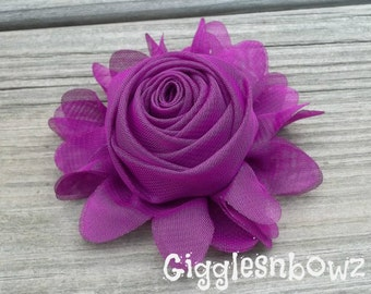 New to Shop- 3 Inch Chiffon Rolled Rose with Ruffles- Purple