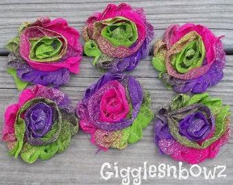 Shabby Chiffon Flowers- Glitter Chiffon Rosette Flowers- NEON Tie Dye- Shabby Flower Trim- U Choose Quantity- Headband Supplies- Crafts
