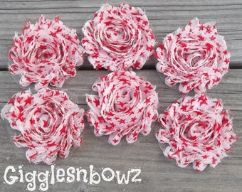 Set of SIX Shabby Frayed Vintage look Chiffon Rosette Flowers- Red Star Shabbies