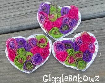 NEON Tie Dye-Set of 3 Beautiful Shabby Chic Chiffon HEART Appliques- TIE DYe  2.75x2  inch