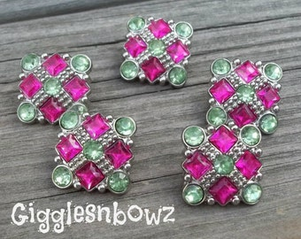 Sale Rhinestone Buttons- 5pc Shocking Pink/Green Rhinestone Buttons- 21mm Headband Supplies-Diy Supplies- Sewing Button- Diy Baby Headband