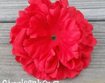 Single Soft Petal Silk Peony Flower-Gorgeous RED 5 inch blossom