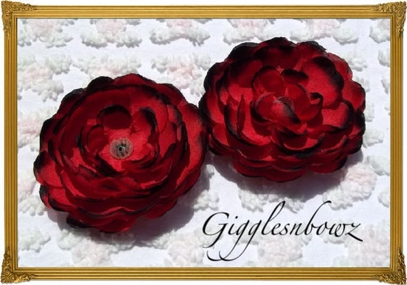 Set of TWO Beautiful Scallop Edge Silk Ranunculus Flowers RED with BLACK Tips