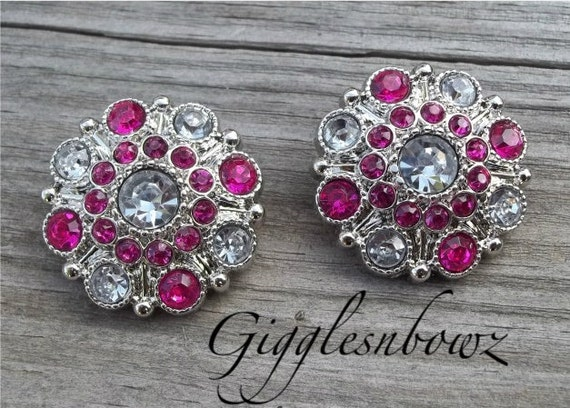 NEW Set of Two LIMITED EDITION Two-Tone Clear and Shocking Pink Acrylic Rhinestone Buttons 27mm