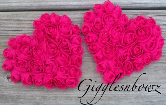 Set of 2 Beautiful Shabby Chic Chiffon HEART Appliques- SHOCKING PINK