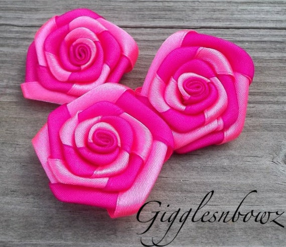 Set of 3 Beautiful Shocking Pink and Hot Pink Rolled Roses Rosette Flowers